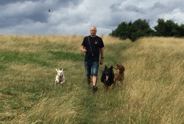 David out walking with our pack