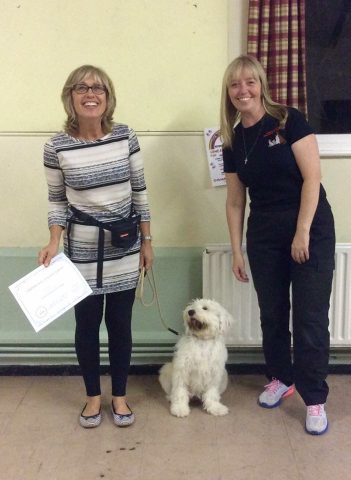 Digby at graduation, he is moving on to our mixed ability class to continue his training