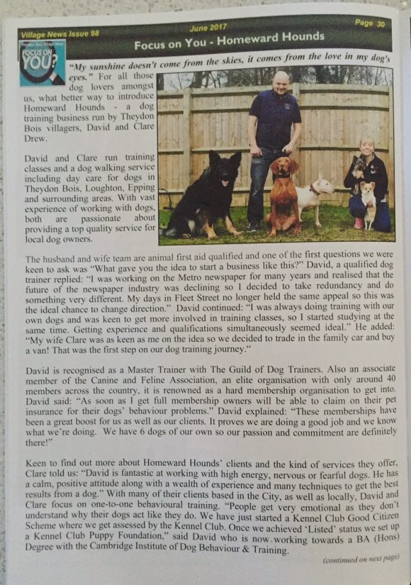 Homeward Hounds feature in the THEYDON BOIS VILLAGE NEWS magazine
