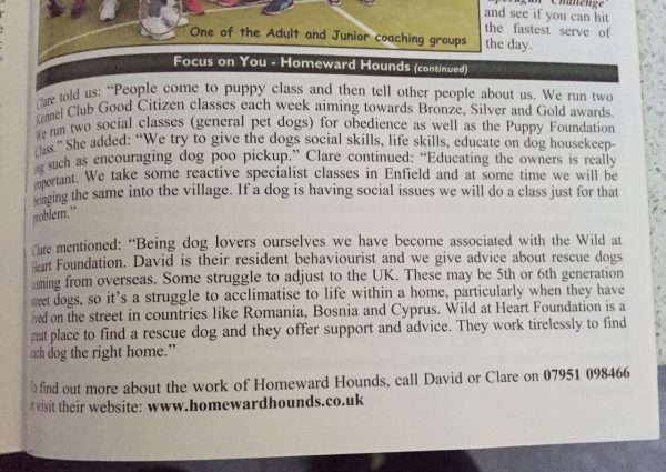 Homeward Hounds in Theydon Bois Village News